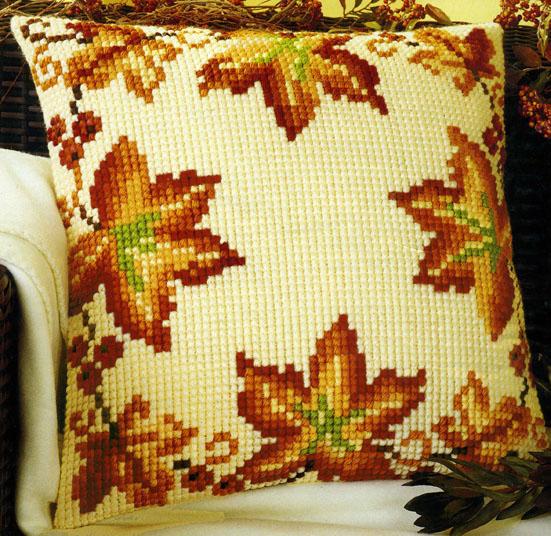 Осенние листья вышивка подушка 14